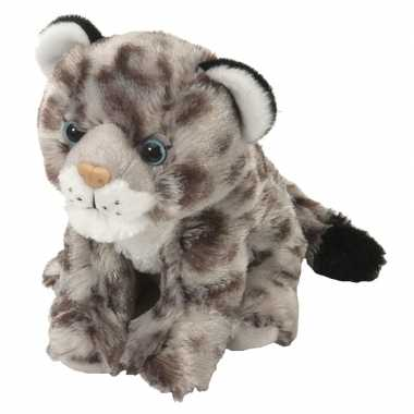 Pluche grijze sneeuwluipaard welpje knuffel 20 cm speelgoed