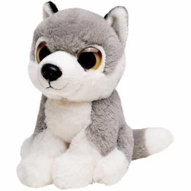 Pluche grijze wolf/wolven knuffel 13 cm speelgoed