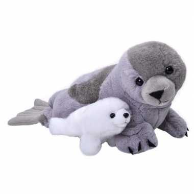 Pluche grijze zeehond met baby knuffel 38 cm speelgoed