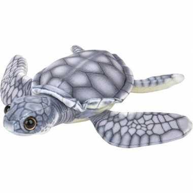 Pluche grijze zeeschildpad knuffel 18 cm speelgoed