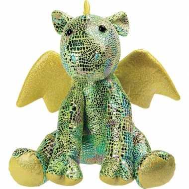 Pluche groene draak/draken knuffel met glitters 23 cm speelgoed