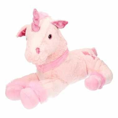 Pluche grote roze eenhoorn knuffel 62 cm