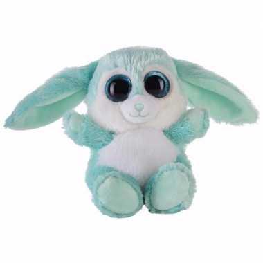Pluche haas/konijn knuffeltje turquoise 15 cm