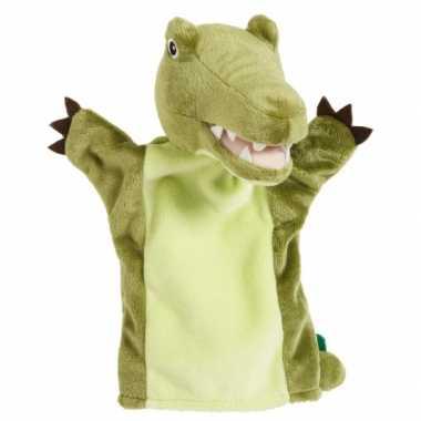 Pluche handpop krokodil knuffel 22 cm