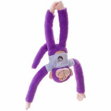 Pluche hangaapje knuffel paars 40 cm