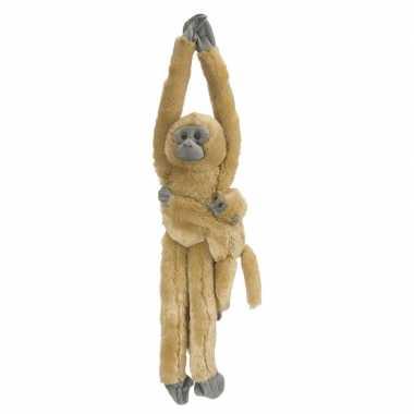 Pluche hangende bruine aap/apen met baby knuffel 51 cm