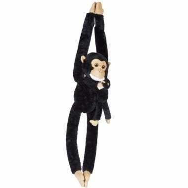 Pluche hangende chimpansee met baby knuffel 84 cm