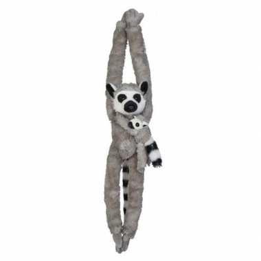 Pluche hangende grijze ringstaartmaki aap/apen knuffel 84 cm