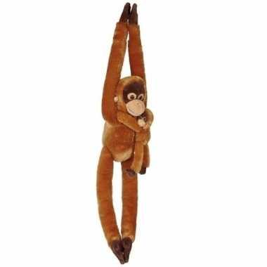 Pluche hangende orang oetan met baby knuffel 84 cm