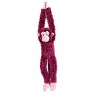 Pluche hangende roze aap knuffel 84 cm