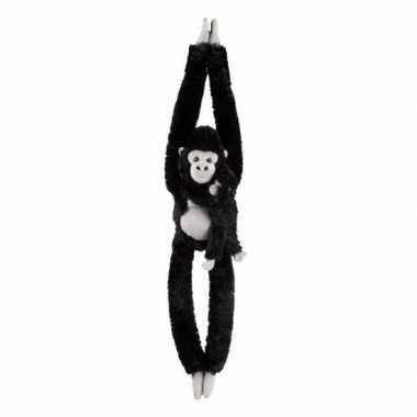 Pluche hangende zwarte gorilla aap/apen knuffel 84 cm speelgoed