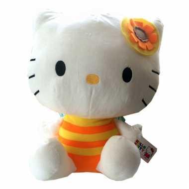 Pluche hello kitty knuffel oranje 35 cm