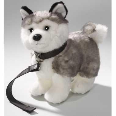 Pluche husky hond met riem knuffel 22 cm