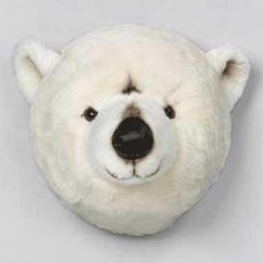 Pluche ijsbeer dierenhoofd knuffel 30 cm muurdecoratie