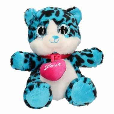Pluche kat/poes knuffel blauw 22 cm