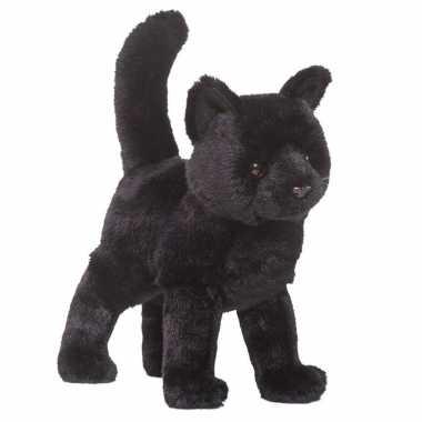 Pluche kat/poes knuffel zwart 30 cm