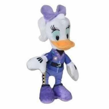 Pluche katrien duck auto race knuffel 17 cm