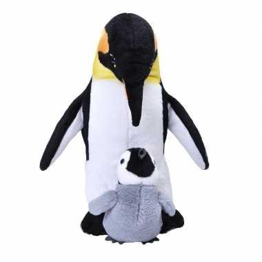 Pluche keizers pinguin met baby knuffel 38 cm speelgoed
