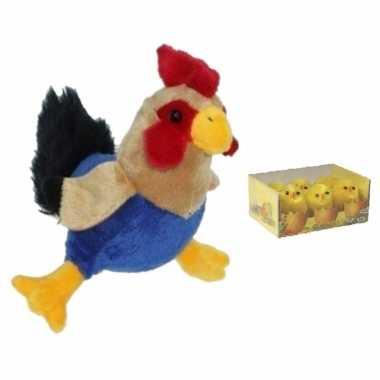 Pluche kippen/hanen knuffel van 20 cm met 6x stuks mini kuikentjes 3,5 cm
