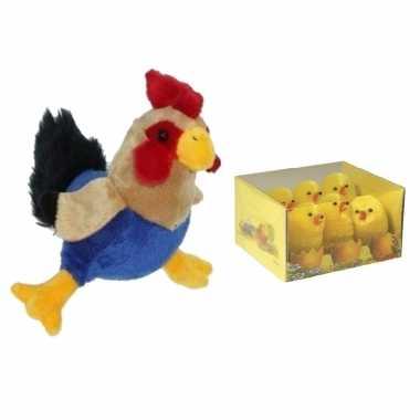 Pluche kippen/hanen knuffel van 20 cm met 6x stuks mini kuikentjes 5 cm