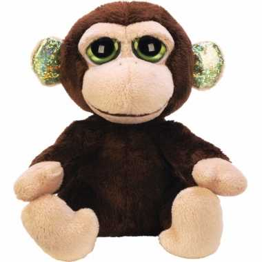 Pluche knuffel aap 12 cm met glitter oren
