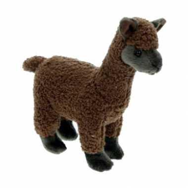 Pluche knuffel alpaca bruin 23 cm