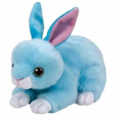 Pluche knuffel blauw konijn/haas ty beanie jumper 15 cm