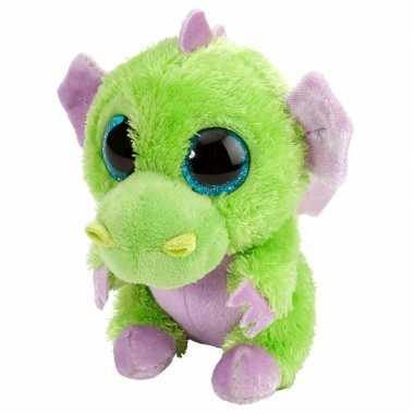 Pluche knuffel draakje groen/paars 13 cm