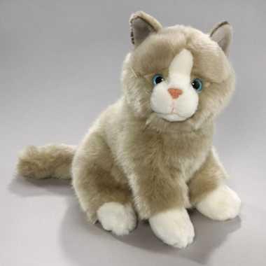 Pluche knuffel grijs/witte kat 23 cm