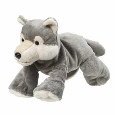 Pluche knuffel grijze wolf van 22 cm