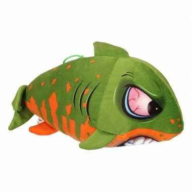 Pluche knuffel haai groen/oranje 24 cm