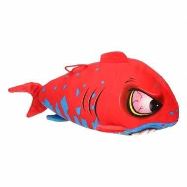 Pluche knuffel haai rood/blauw 24 cm