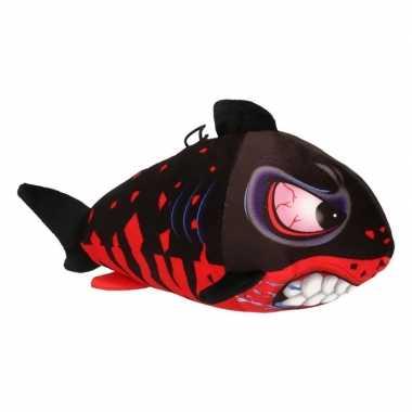 Pluche knuffel haai zwart/rood 24 cm
