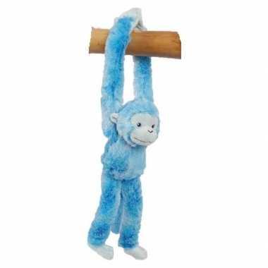 Pluche knuffel hangaapje blauw 32 cm