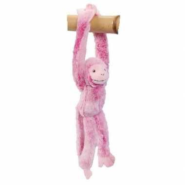 Pluche knuffel hangaapje roze 32 cm