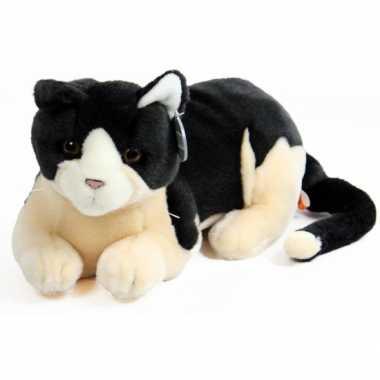 Pluche knuffel kat zwart creme 30 cm