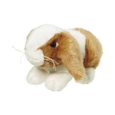 Pluche knuffel konijn bruin/wit