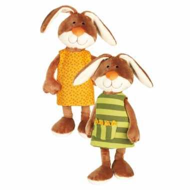 Pluche knuffel konijntje met verwisselbaar jurkje 40 cm