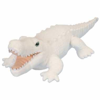 Pluche knuffel krokodil wit 38 cm