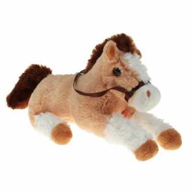 Pluche knuffel paard beige/wit 30 cm