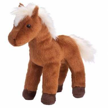 Pluche knuffel paard bruin met witte manen 20 cm
