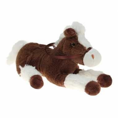 Pluche knuffel paard bruin/wit 30 cm