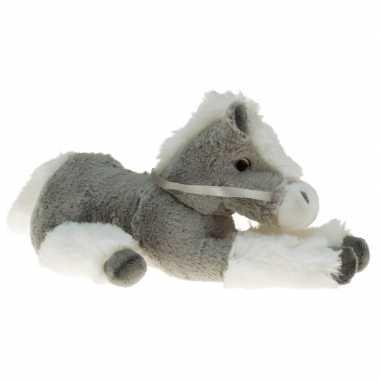 Pluche knuffel paard grijs/wit 30 cm