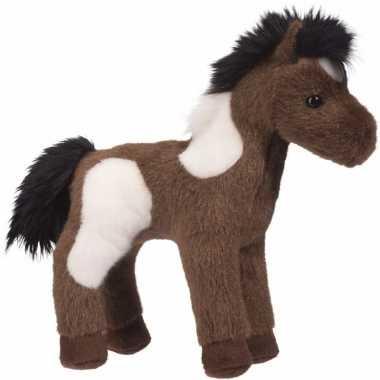 Pluche knuffel paint paard wit/donkerbruin 20 cm