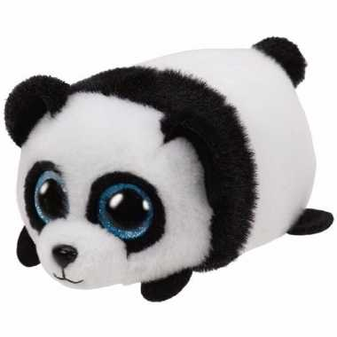 Pluche knuffel panda ty beanie puck 10 cm