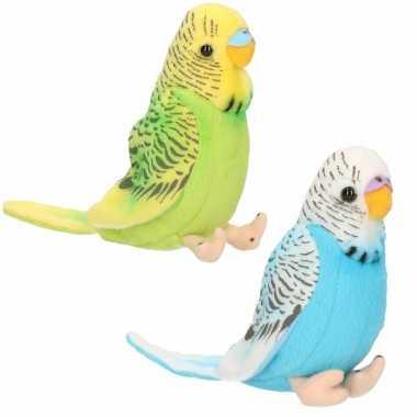 Pluche knuffel parkieten setje vogels blauw en groen 11 cm