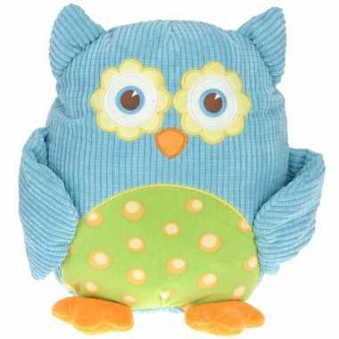 Pluche knuffel uil blauw 28 cm