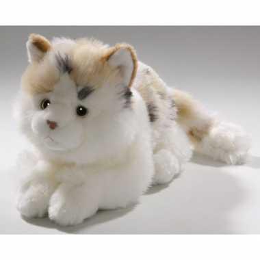 Pluche knuffel wit gevlekte kat 26 cm
