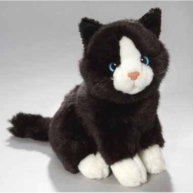 Pluche knuffel zwart/witte kat/poes 23 cm
