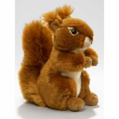 Pluche knuffeldier eekhoorn zittend/liggend 17cm